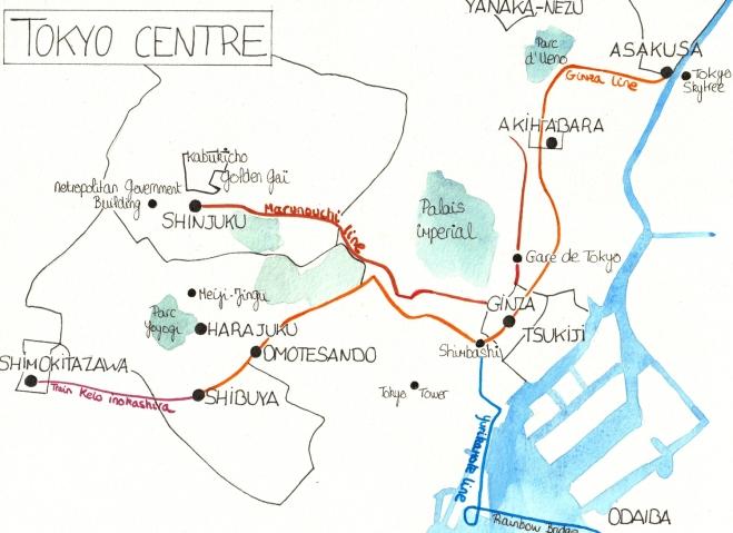 Plan des quartiers de Tokyo